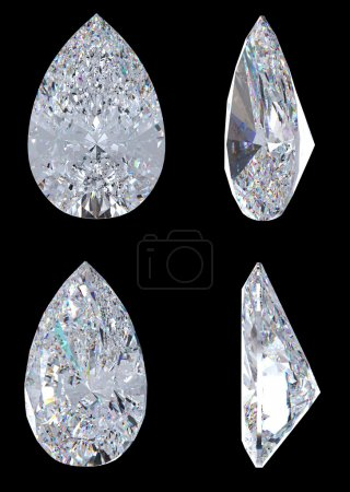 Top, bottom and side views of pear diamond