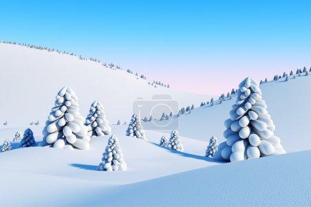 冬季风景与冷杉