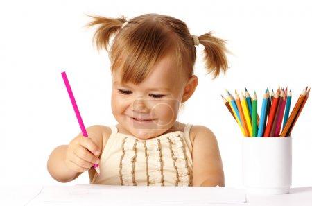 儿童戏剧与颜色铅笔和微笑